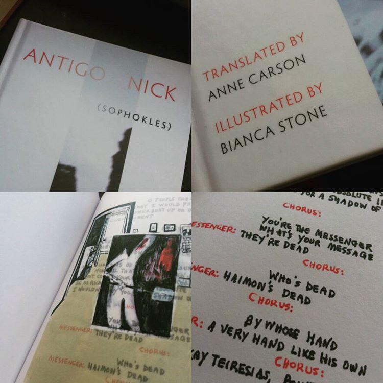 """Anne Carson är härligt originell. Här en """"översättning"""" av Antigone där huvudpersonen citerar Hegel så fort hon får möjlighet... #poesi #dramatik #översättning #boktips"""